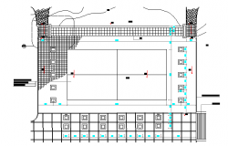 Badminton court top view plan details