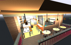 Bakery 3d view with view of bakery area dwg file