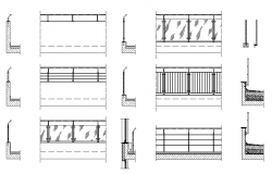 Balcony railing sectional detail dwg file,