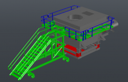 Ball-mill feeding chamber detail 3d model layout autocad file