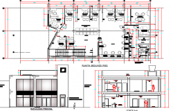 Bank agency building elevation, section and plan details dwg file