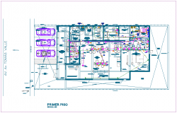 Bank agency electrical view with first floor plan dwg file