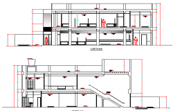 Bank agency front and back sectional details dwg file