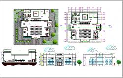 Bank branch building plan detail dwg file