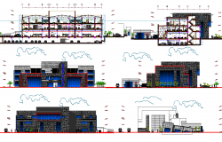 Bank branch building plan detail view dwg file