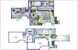 Bank branch office plan detail view dwg file