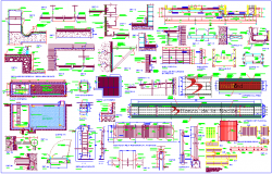 Bank different portion construction detail with sectional view dwg file