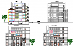 Bank head office building elevations and sectional details dwg file