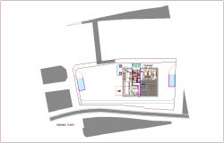 Bank head quarter ground floor plan with architectural view dwg file