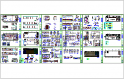 Bank office architectural plan with section view dwg file