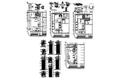 Bank office building cover plan, column and structure cad drawing details dwg file
