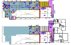 Bank office building floor plan details with equipment dwg file