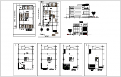 Bank office building plan and section view dwg file