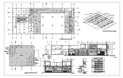 Bank office ceiling plan with structure view dwg file
