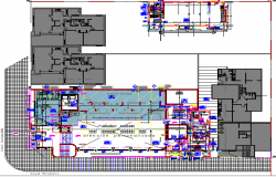 Bank office layout plan details with installation and equipment dwg file