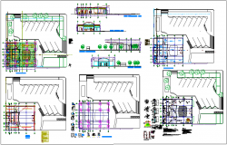 Bank project design with architectural,hydraulic and electrical plan with elevation and section view dwg file