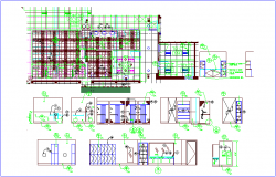 Bank wall view with construction detail dwg file