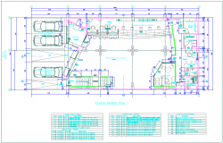 Banking design view with first floor plan with door and window schedule dwg file