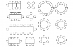 Banquet hall furniture plan detail dwg.