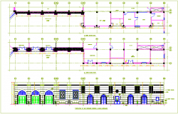 Bar design view in Islamic art with plan and elevation dwg file