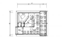 Bar with restaurant distribution plan cad drawing details dwg file