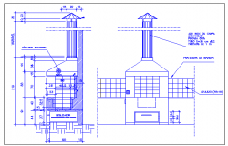 Barbecue grill roaster elevation and sectional view dwg file