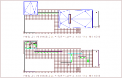 Barcelona pavilion wall construction plan dwg file