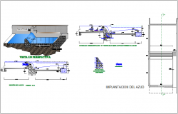 Barrier construction view with perspective and section view dwg file