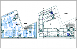Basement and ground floor plan of secondary school dwg file