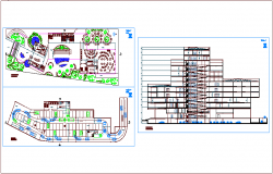 Basement and low level plan of university with section view of university dwg file