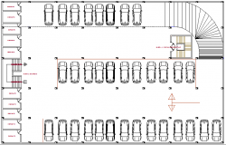 Basement car parking lot floor plan details of multi-purpose building dwg file