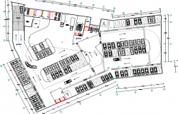 Basement floor car parking lot of business center dwg file