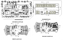 Basement floor plan and second floor plan detail dwg file