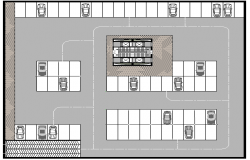 Basement floor plan layout details of tour-ecologic center dwg file