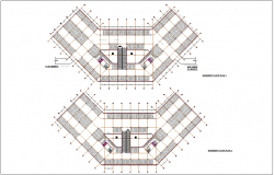 Basement floor plan of administration building with first and second floor plan dwg file