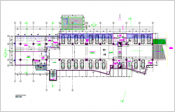 Basement floor plan of municipal building dwg file