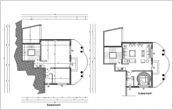 Basement floor plan view of house with architectural view dwg file