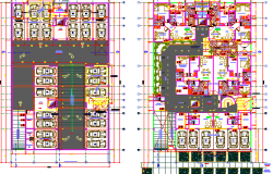 Basement parking and structure layout of multi-flooring housing flats dwg file.