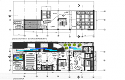Basement plan and ground floor office plan detail dwg file