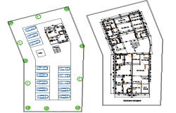 Basement plan and ground floor plan detail dwg file