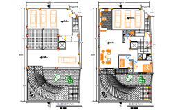 Basement plan and groung floor plan detail dwg file