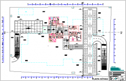 Basement plan of hospital with architectural view dwg file