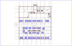Basement plan with architectural view for stadium dwg file