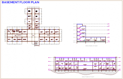 Basement plan with section view of hospital dwg file