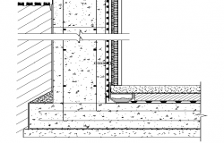 Basement water proofing constructive details dwg file