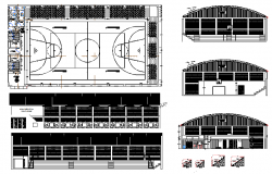 Basket ball court, ground dwg file