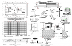 Basket ball court ground detail elevation and section 2d view layout file