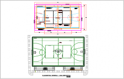 Basket ball court plan view details dwg file