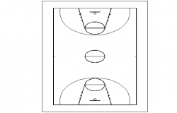 Basket ball court top view plan