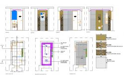 Bathroom Design Plan and Section CAD Drawing